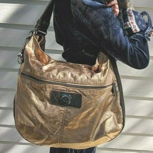 Large Kipling Gold & Bronze Shoulder Bag Tote